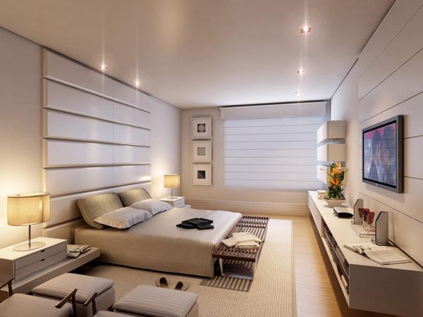 revista decoracao de interiores cortinas:Dicas de Iluminação para quartos – Imagem ilustrativa da suíte do