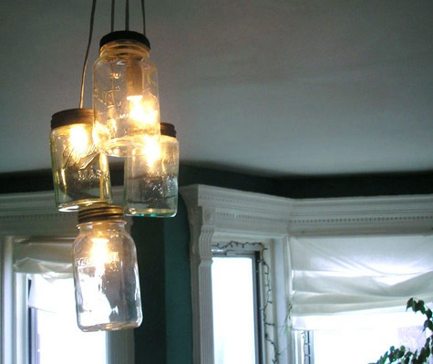 lustre potes de vidro renest Lustres e luminárias com vidros reutilizados