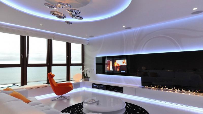 Sala de estar futurista na pol nia vidrado for Bilder moderne wohnung design